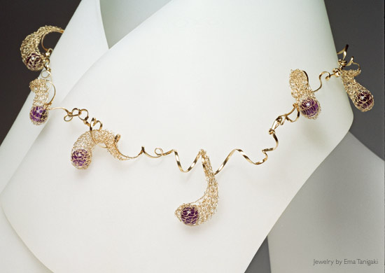 Amethyst Crochet Tendril Necklace by Ema Tanigaki